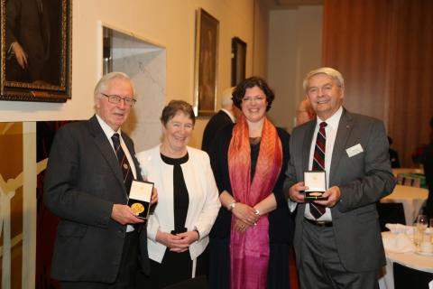 Neutrino pioneers, Professor Arnold Wolfendale, Dr and Mrs Bryan Pattison and Professor Silvia Pascoli